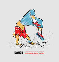 breakdancer doing a back flip the man is dancing vector image
