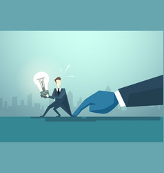 businessman hold light bulb problem business man vector image