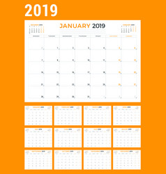 calendar planner stationery design template for vector image