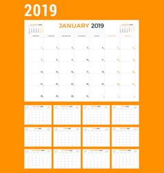 Calendar planner stationery design template vector