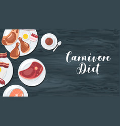 Carnivore red meat diet web banner template vector