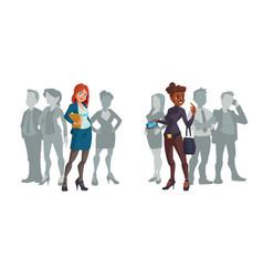 Cartoon business women caucasian or african ladies vector