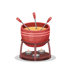 Cheese fondue delicious dish of french cuisine vector