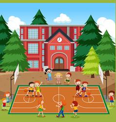 Children playing basketball scene vector