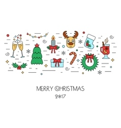 Christmas colorful isolated concept from linear vector image