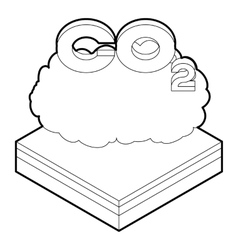Co2 cloud icon in outline style vector