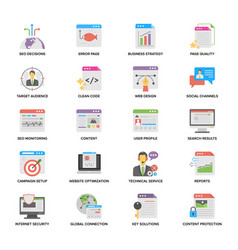 Creative web and seo flat icons vector