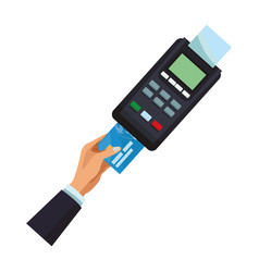 Credit card payment with card reader vector
