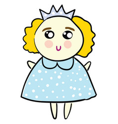 cute a princess in a bablue dress on white vector image