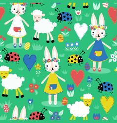 cute easter pattern with bunnies sheep ladybugs vector image