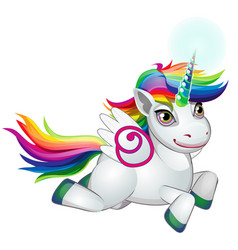 Cute unicorn pony with mane colors of the rainbow vector