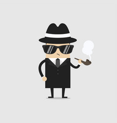 Detective man character smoking pipe vector