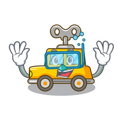Diving cartoon clockwork toy car in table vector