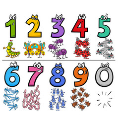 Educational cartoon numbers set with insect vector