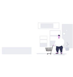 Fat overweight man pushing trolley cart buying vector