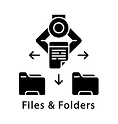 Files and folders glyph icon vector