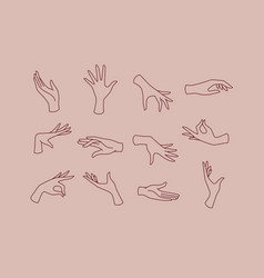 Flat hand pink brown vector