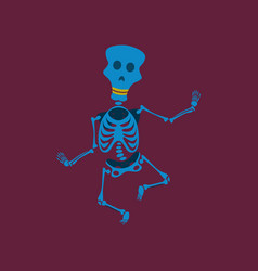 Flat on background of skeleton vector