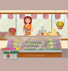 Flower shop banner with young woman vector