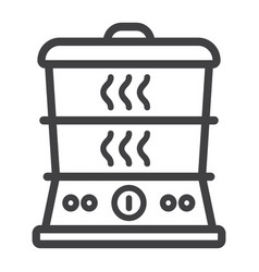 Food steamer line icon kitchen and appliance vector
