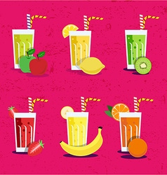 Fresh smoothies set vector