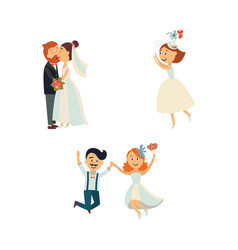 Funny wedding couple kissing and jumping vector