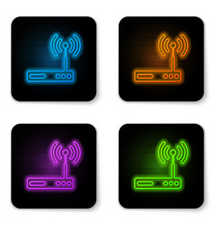 Glowing neon router and wi-fi signal symbol icon vector