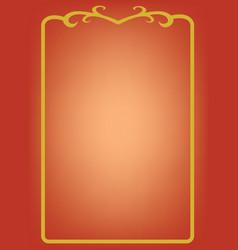 golden frame on red background vector image