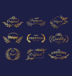 golden ornament labels luxury floral badges and vector image