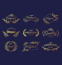 Golden ornament labels luxury floral badges vector