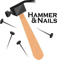 Hammer and nails vector
