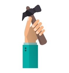 hand holding hammer tool construction vector image