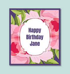 happy birthday holiday card template with elegant vector image