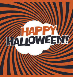 happy halloween typography on orange rays vector image