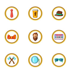 Happy hipster icon set cartoon style vector