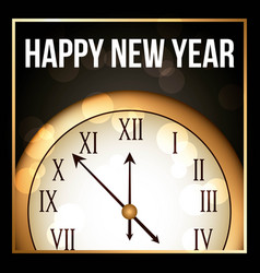 happy new year 2018 gold clock with glowing frame vector image
