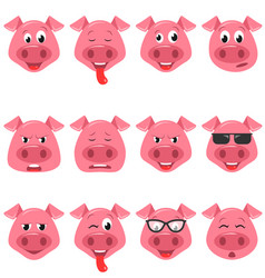 Heads of cool funny pig emoticon characters happy vector