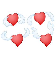 Heart flying valentine flap vector