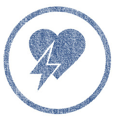 Heart shock rounded fabric textured icon vector