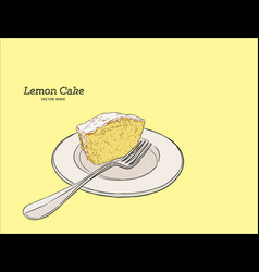 Homemade lemon cake with poppy seeds and sugar vector