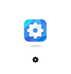 Icon setting gear emblem cogwheel web vector