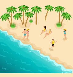Isometric sea beach resting girls sunbaathlete vector