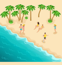 Isometric sea beach resting girls sunbathe athlete vector