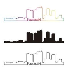 Kawasaki skyline linear style with rainbow vector
