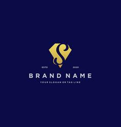 Letter s diamond gold logo design vector
