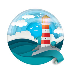 Lighthouse among raging waves vector