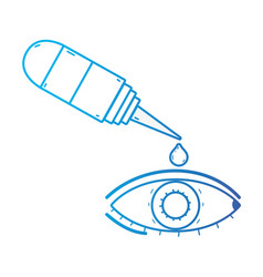 Line eye with conjunctivitis and medical bottle vector