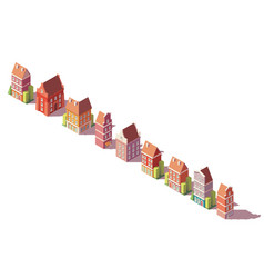 low poly isometric old buildings set vector image