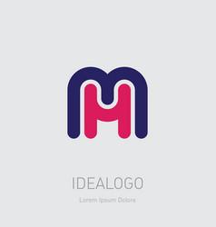 m and h initial logo mh initial monogram logotype vector image