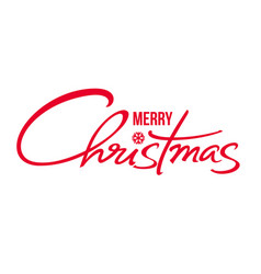 merry christmas text calligraphic hand drawn vector image